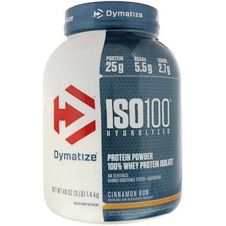 Dymatize Nutrition, ISO 100 Hydrolyzed, 100% Whey Protein Isolate, Cinnamon Bun, 48 oz (1.4 kg)