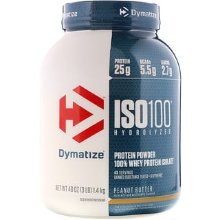 Dymatize Nutrition, ISO 100 Hydrolyzed, 100% Whey Protein Isolate, Peanut Butter, 3 lbs (1.4 kg)