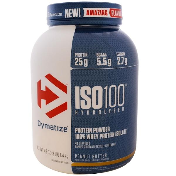 Dymatize Nutrition, ISO 100水解,100%乳清分離蛋白,花生醬味,48盎司(1、4千克)