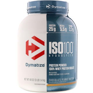Dymatize Nutrition, ISO 100 Hydrolyzed, 100% Whey Protein Isolate, Chocolate Peanut Butter, 3 lb (1.4 kg)