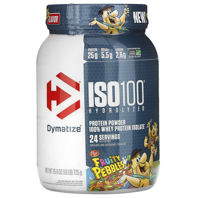 Купить Dymatize Nutrition ISO100 Hydrolyzed, 100% Whey Protein Isolate, Fruity Pebbles, 1.6 lb (725 g)