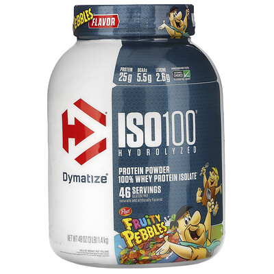 Купить Dymatize Nutrition ISO 100 Hydrolyzed, 100% Whey Protein Isolate, Fruity Pebbles, 3 lb (1.4 kg)