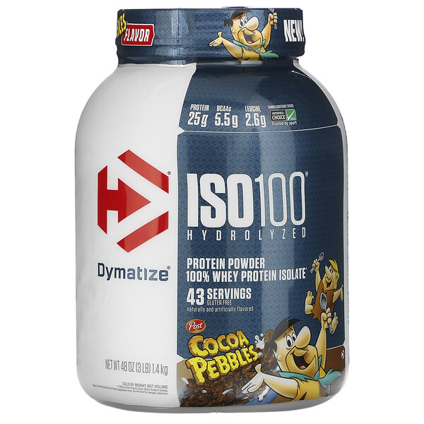 Dymatize Nutrition, ISO100 Hydrolyzed, 100% Whey Protein Isolate, Cocoa Pebbles, 3 lb (1.4 kg)
