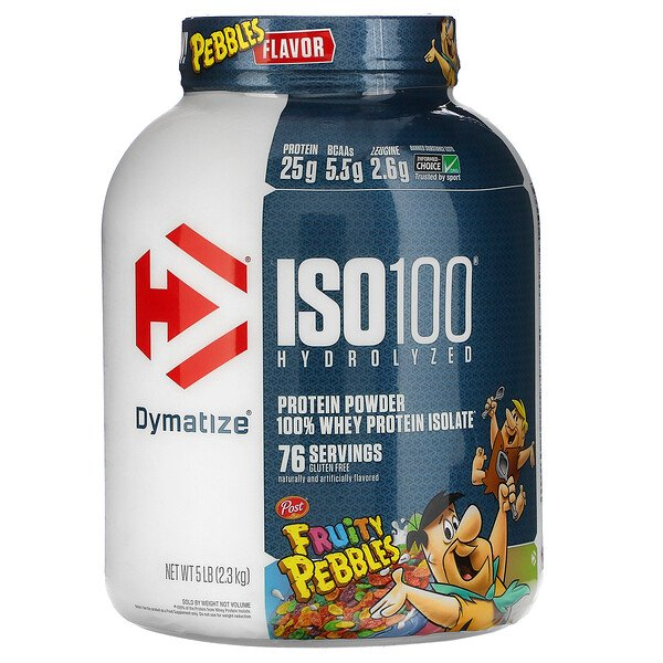 Dymatize Nutrition, ISO100 Hydrolyzed, 100% Whey Protein Isolate, Fruity Pebbles, 5 lb (2.3 kg)