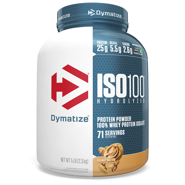 ISO 100 Hydrolyzed, 100% Whey Protein Isolate, Peanut Butter, 5 lb (2.3 kg)
