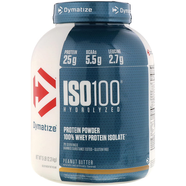 Dymatize Nutrition, ISO 100 Hydrolyzed, 100% Whey Protein Isolate, Peanut Butter, 5 lb (2.3 kg)