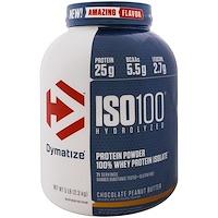 ISO 100 гидролизованный, 100% изолят сывороточного протеина, шоколадно-арахисовая паста, 5 фунтов (2.3 кг) - фото