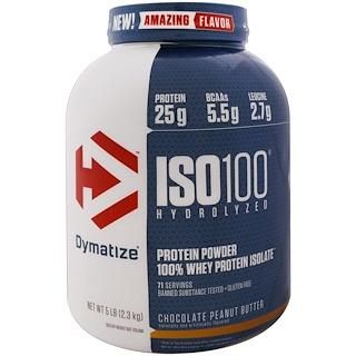 Dymatize Nutrition, ISO 100 гидролизованный, 100% изолят сывороточного протеина, шоколадно-арахисовая паста, 5 фунтов (2.3 кг)