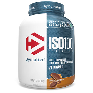 Dymatize Nutrition, ISO100 Hydrolyzed, 100% Whey Protein Isolate, Chocolate Peanut Butter, 5 lb (2.3 kg)