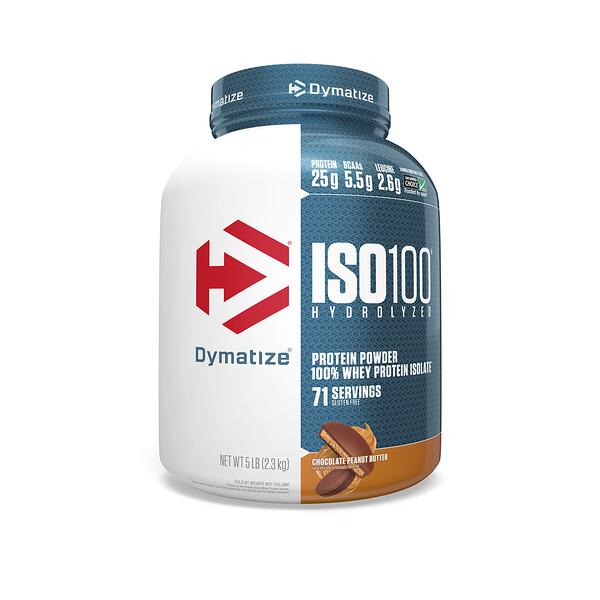 Dymatize Nutrition, ISO 100 hidrolizado, aislado de proteína de suero 100%, manteca de maní con chocolate, 5 lb (2,3 kg)