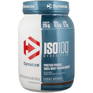 Dymatize Nutrition, ISO100 Hydrolyzed, 100% Whey Protein Isolate, Fudge Brownie, 25.6 oz (725 g)