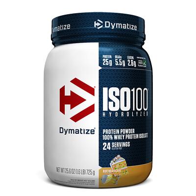 Купить Dymatize Nutrition ISO100 гидролизованный, 100% изолят сывороточного белка, вкус торт именинника , 25, 6 унц. (725 г)