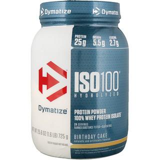 Dymatize Nutrition, ISO100 Hydrolyzed, 100% Whey Protein Isolate, Birthday Cake, 1.6 lbs (725 g)