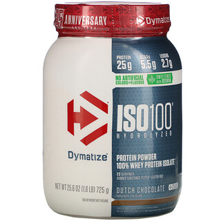 Dymatize Nutrition, ISO100 Hydrolyzed, 100% Whey Protein Isolate, Dutch Chocolate, 1.6 lbs (725 g)