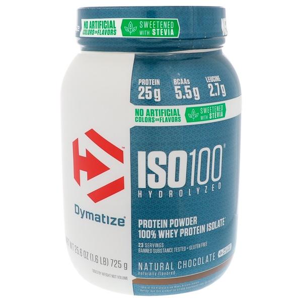 Dymatize Nutrition, ISO100水解,100%乳清分離蛋白,天然巧克力,25、6盎司(725克)