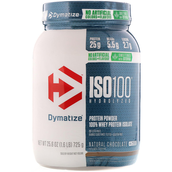 Dymatize Nutrition, ISO100 Hidrolisado, 100% Isolado de Proteína Whey, Chocolate Natural, 25,6 oz (725 g)