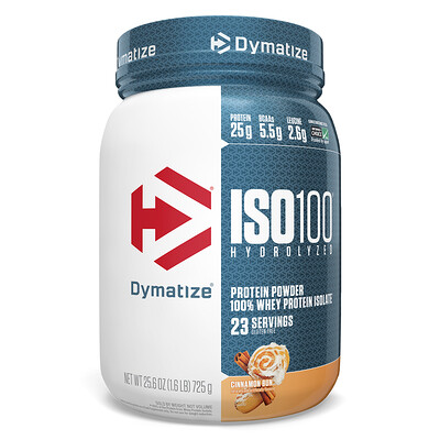Купить Dymatize Nutrition ISO 100 Hydrolyzed, 100% Whey Protein Isolate, Cinnamon Bun, 25.6 oz (725 g)