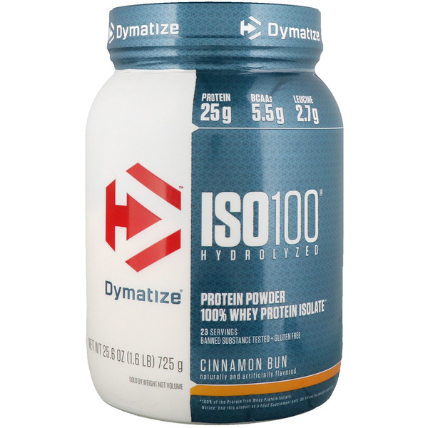 Dymatize Nutrition, ISO100 Hydrolyzed, 100% Whey Protein Isolate, Cinnamon Bun, 1.6 lbs (725 g)