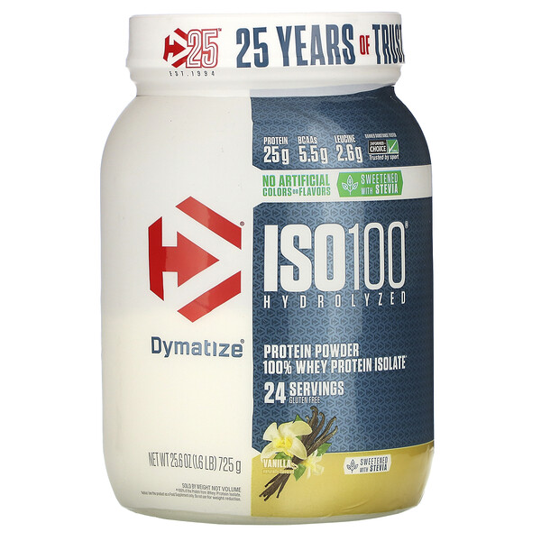 ISO100 Hydrolyzed, 100% Whey Protein Isolate, Vanilla, 1.6 lb (725 g)