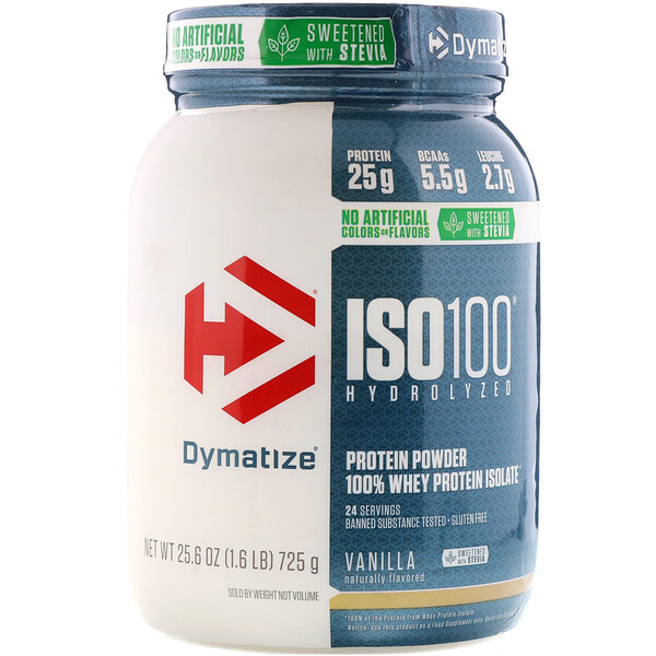 Dymatize Nutrition, ISO100 Hydrolyzed, 100% Whey Protein Isolate, Natural Vanilla, 1.6 lbs (725 g)
