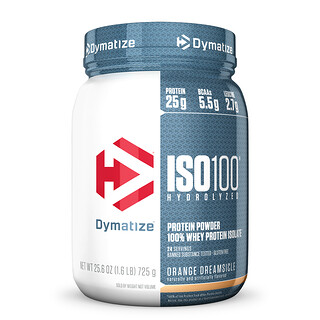 Dymatize Nutrition, ISO100 Hydrolyzed, 100% Whey Protein Isolate, Orange Dreamsicle, 1.6 lbs (725 g)