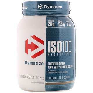 Dymatize Nutrition, ISO 100, Hydrolyzed, 100% Whey Protein Isolate Powder, Chocolate Coconut, 1.6 lbs (725 g)