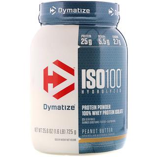 Dymatize Nutrition, 加水分解ISO 100 100%ホエイプロテインアイソレート, ピーナッツバター, 25.6 oz (725 g)