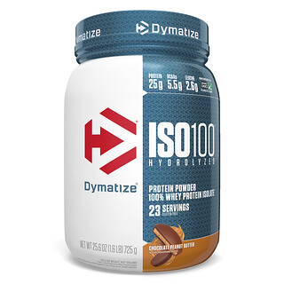 Dymatize Nutrition, ISO100 Hydrolyzed, 100% Whey Protein Isolate, Chocolate Peanut Butter, 1.6 lbs (725 g)