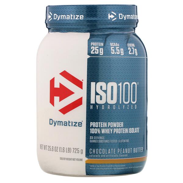 加水分解ISO 100, 100%ホエイプロテインアイソレート, チョコレートピーナッツバター, 25.6 oz (725 g)