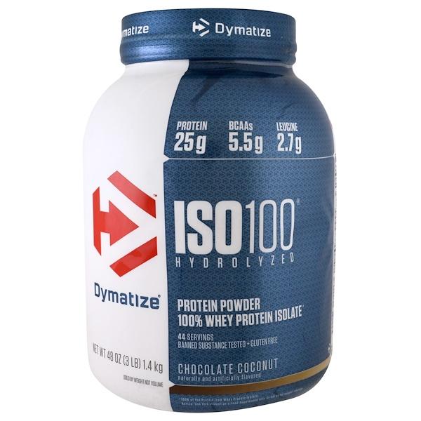 Dymatize Nutrition, ISO 100,100%水解乳清蛋白分離粉,巧克力椰子味,48盎司(1、4公斤)
