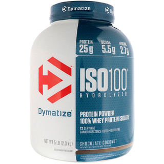 Dymatize Nutrition, ISO 100 Hydrolyzed 100% Whey Protein Isolate, Chocolate Coconut, 5 lb (2.3 kg)