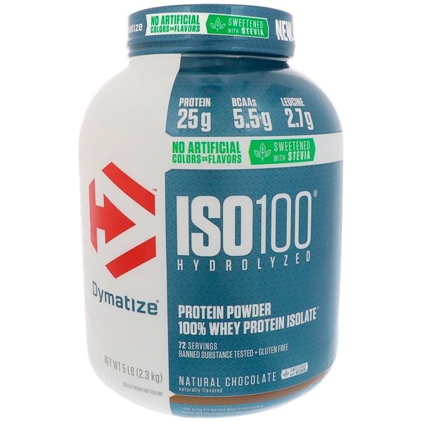 Dymatize Nutrition, ISO100水解,100%乳清分離蛋白,天然巧克力,5磅(2、3公斤)