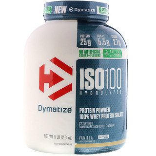 Dymatize Nutrition, ISO100 Hydrolyzed, 100% Whey Protein Isolate, Natural Vanilla, 5 lbs (2.3 kg)