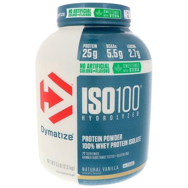 Dymatize Nutrition, ISO100 水解,100% 乳清分離蛋白,天然香草味,5 磅(2、3 千克)