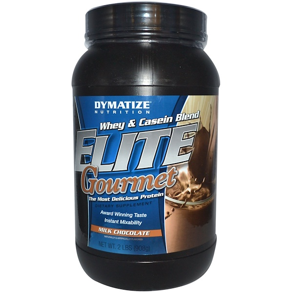 Dymatize Nutrition, Elite Gourmet, Whey & Casein Blend, Milk Chocolate, 2 lbs (908 g) (Discontinued Item)