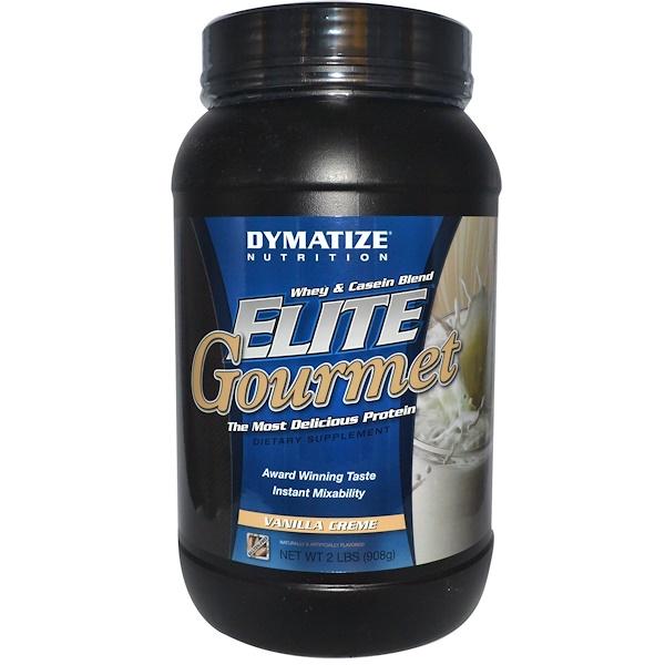 Dymatize Nutrition, Elite Gourmet, Whey & Casein Blend, Vanilla Cream, 2 lbs (908g) (Discontinued Item)