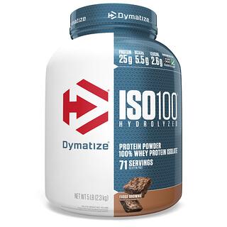 Dymatize Nutrition, ISO100, гидролизованный 100% изолят сывороточного протеина, брауни, 2,3кг (5фунтов)