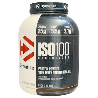 Dymatize Nutrition, ISO-100 Hydrolyzed, 100% Whey Protein Isolate, Fudge Brownie, 5 lbs (2.3 kg)