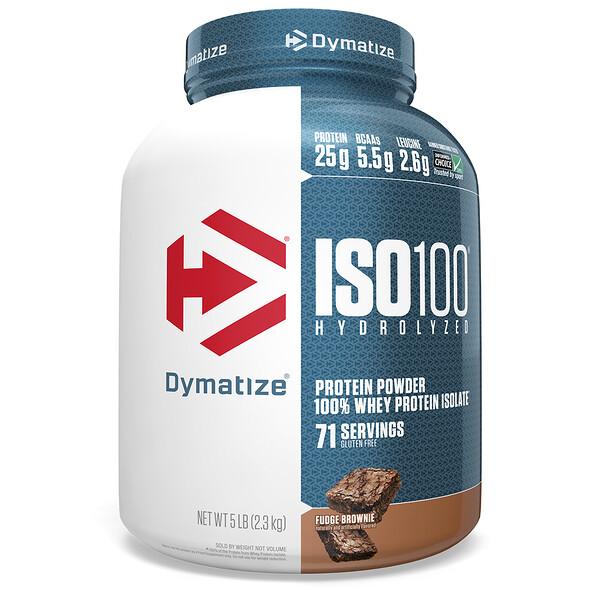 ISO-100 가수 분해, 100% 분리 유장 단백질, 퍼지 브라우니, 5 lbs (2.27 kg)