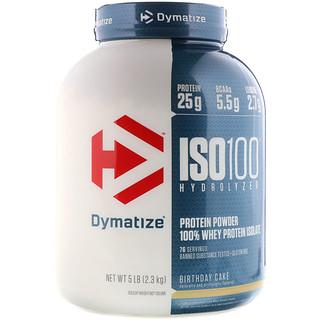 Dymatize Nutrition, ISO 100加水分解100%ホエイプロテインアイソレート、バースデーケーキ、5 lb (2.3 kg)