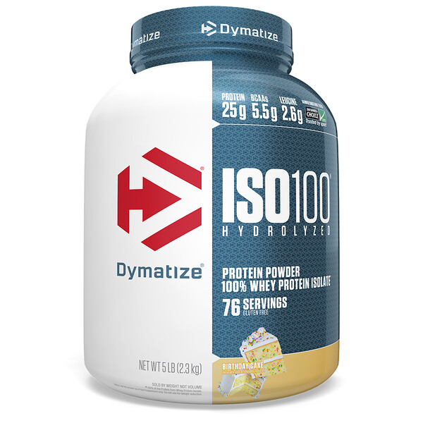ISO 100 Hydrolyzed 100% Whey Protein Isolate, Birthday Cake, 5 lb (2.3 kg)