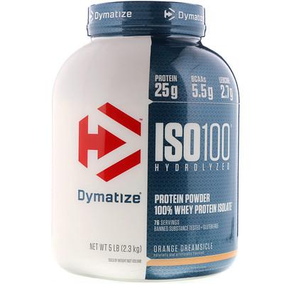 Купить ISO 100 Hydrolyzed, 100 % изолят сывороточного белка, со вкусом апельсинового коктейля, 2, 3 кг (5 фунта)