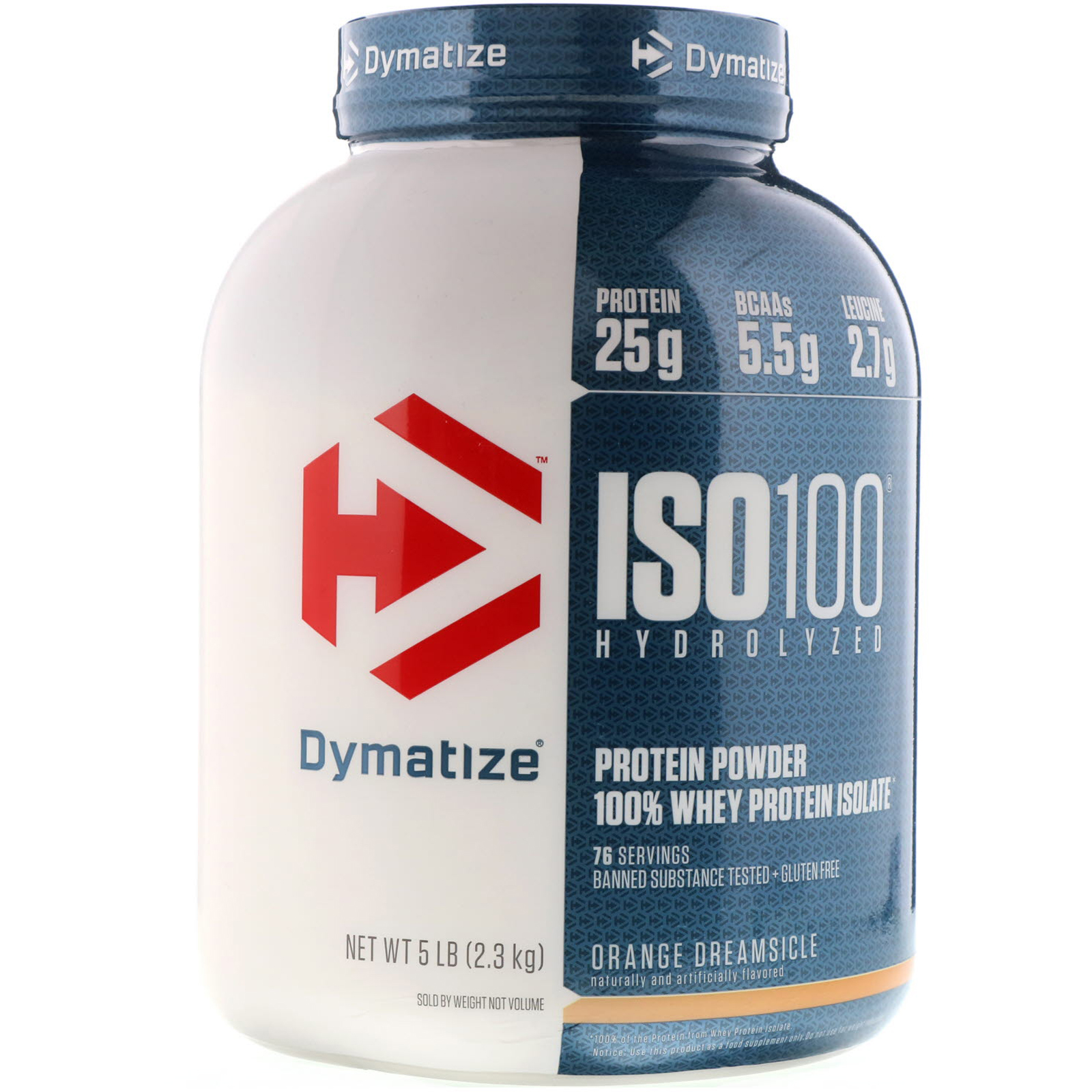 Dymatize Nutrition ISO 100 Hydrolyzed Whey Protein Isolate Orange Dreamsicle 5 Lbs 23 Kg
