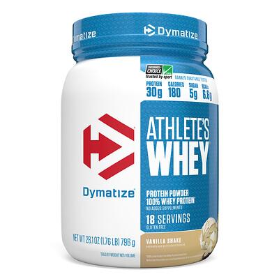 Dymatize Nutrition Athletes Whey, молочная сыворотка, ванильный шейк, 792г