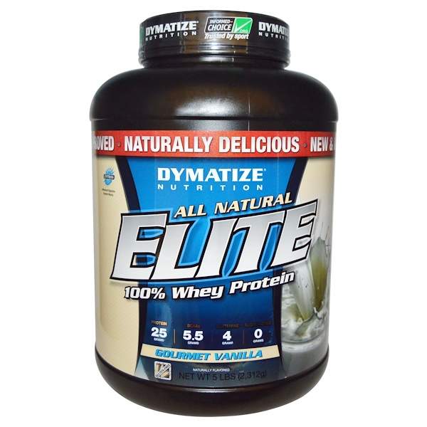 Dymatize Nutrition, All Natural, Elite Whey Protein, Gourmet Vanilla, 5 lbs (2,312 g) (Discontinued Item)