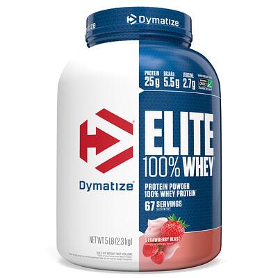 Купить Dymatize Nutrition Elite 100% Whey Protein, Strawberry Blast, 5 lbs (2.27 kg)
