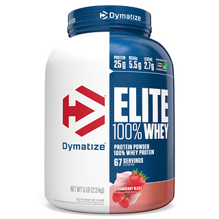 Dymatize Nutrition, Elite 100% Whey Protein Powder, Strawberry Blast, 5 lbs (2.3 kg)