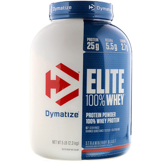 Dymatize Nutrition, Elite 100% Whey Protein Powder, Strawberry Blast, 5 lbs (2.3 kg)