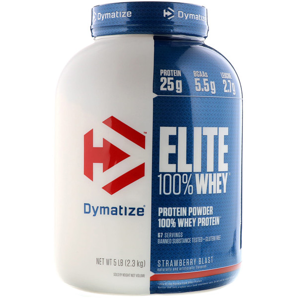 Dymatize Nutrition, Elite 100% Whey Protein, Strawberry Blast, 5 lbs (2.27 kg)