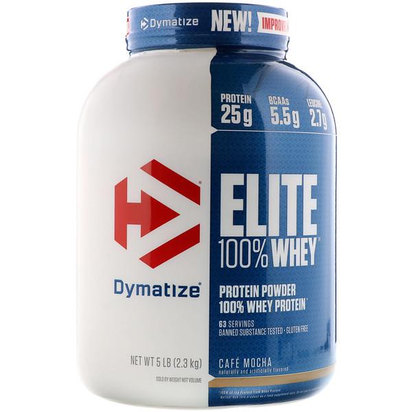 Élite, 100% proteína en polvo de suero de leche, café moca, 5 libras (2,27 kg)